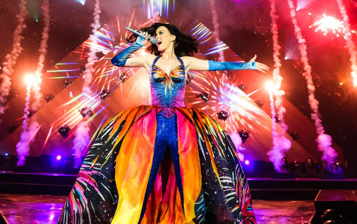 Katy Perry singing at at concert