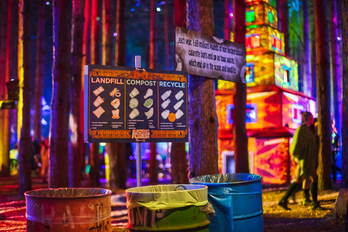 Recycling area at Electric Forest Festival