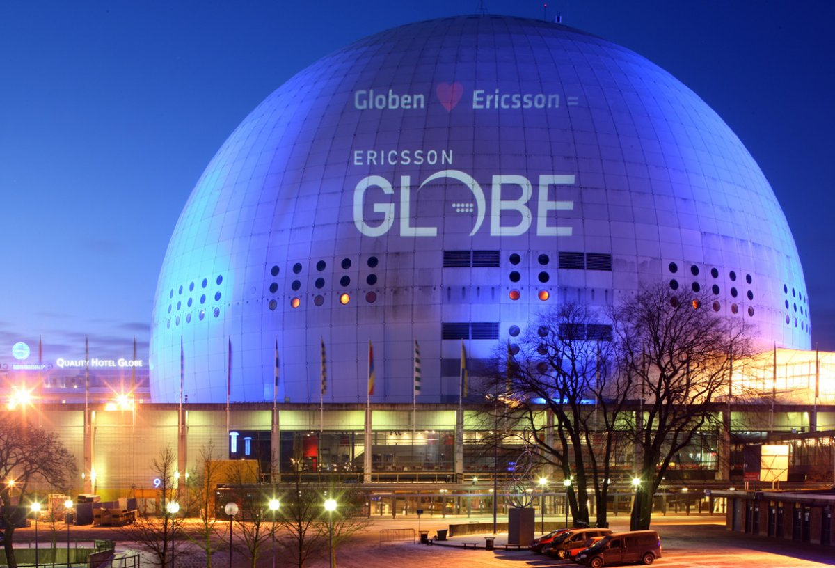 Exterior Image of Ericsson Globe at night