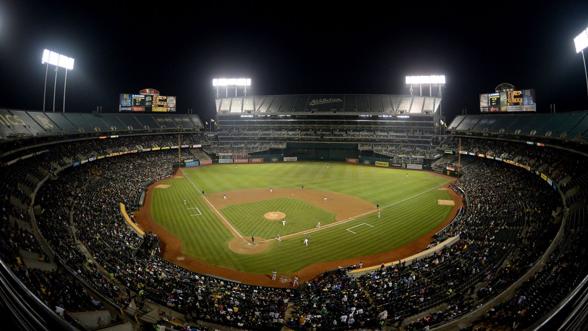 Interior image from high up of the baseball field at Oakland Alameda Coliseum