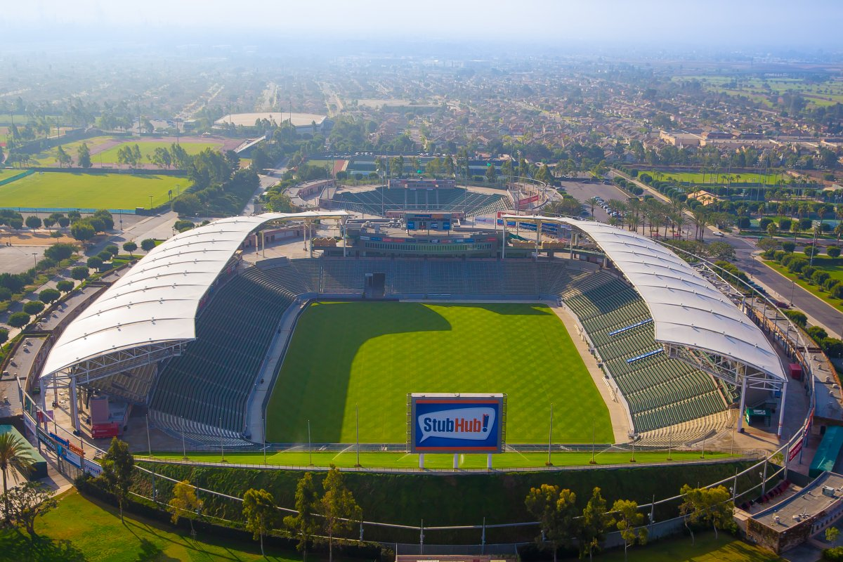 Overhead image of Stubhub Center and soccer field