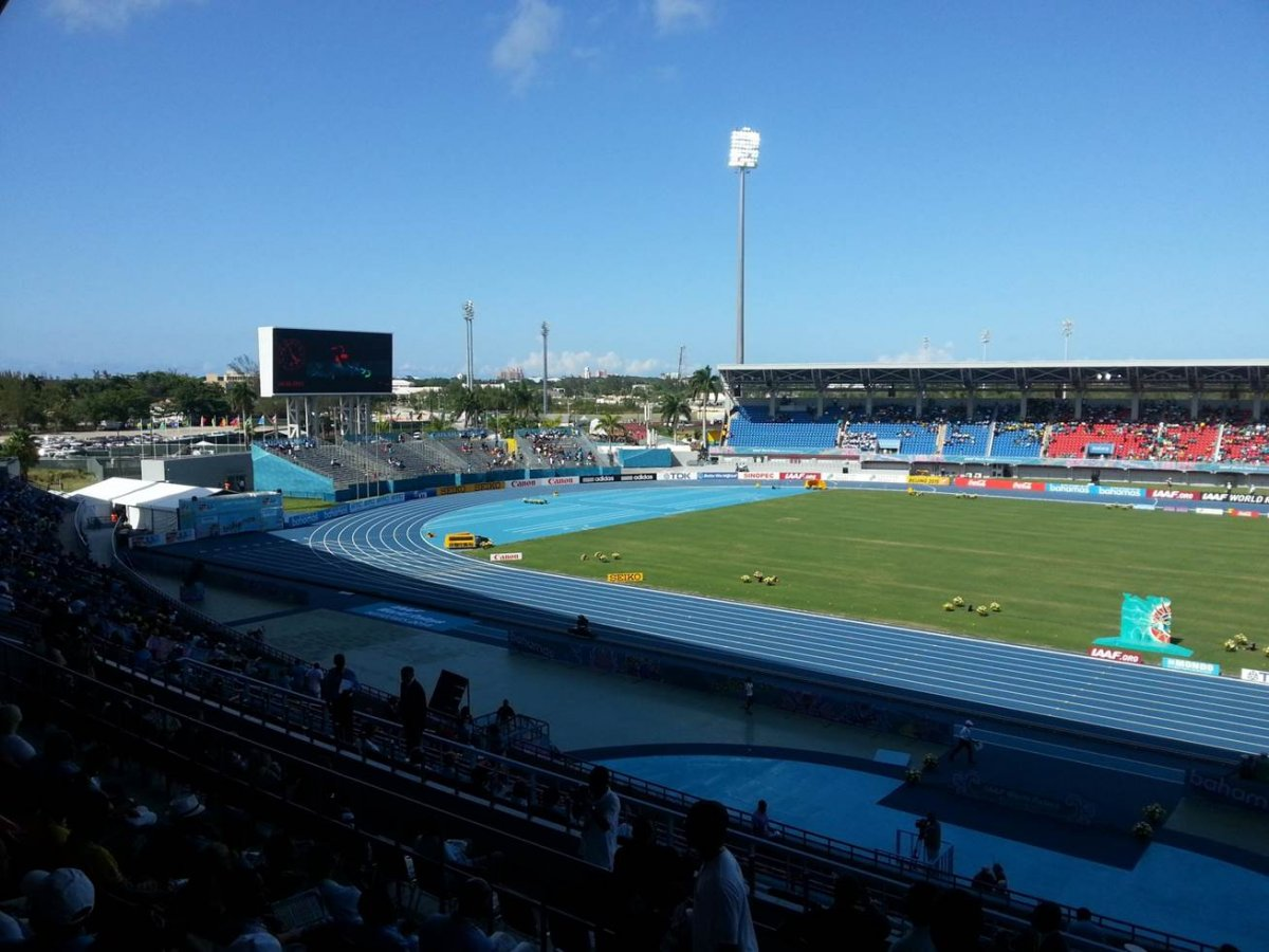 Interior image of the track and field from the seats at Thomas a Robinson National Stadium