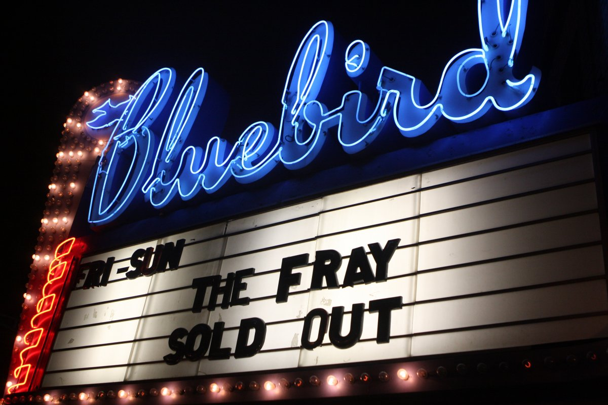 Exterior image of Bluebird marquee presenting The Fray