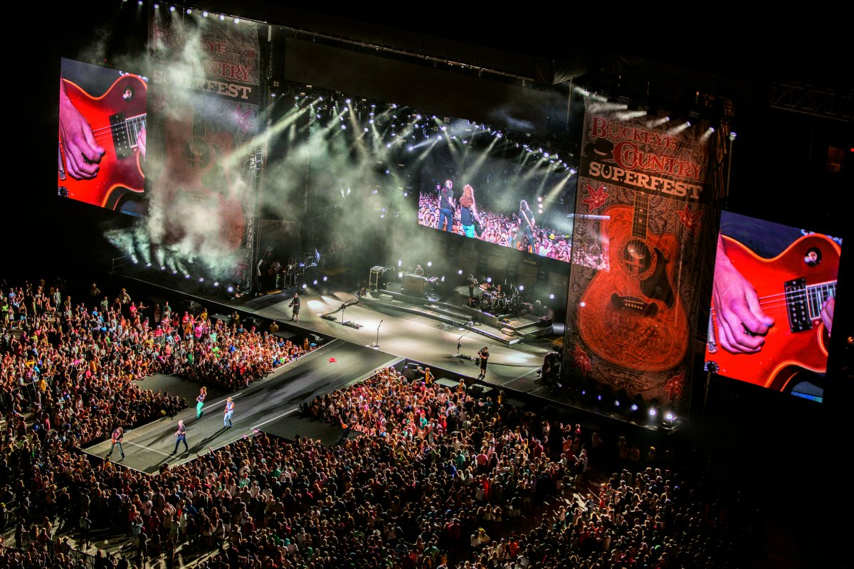 Overhead shot of the crowd around the stage during a performance at Buckeye Country Superfest