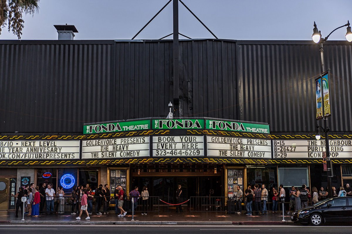 Exterior shot of Fonda theatre with marquee
