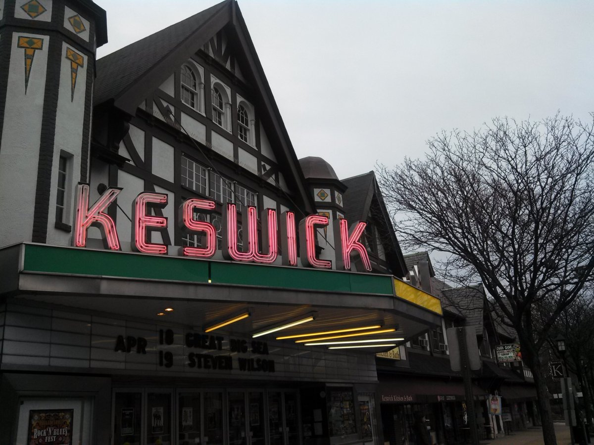 Exterior image of Keswick Theatre with sign lit up