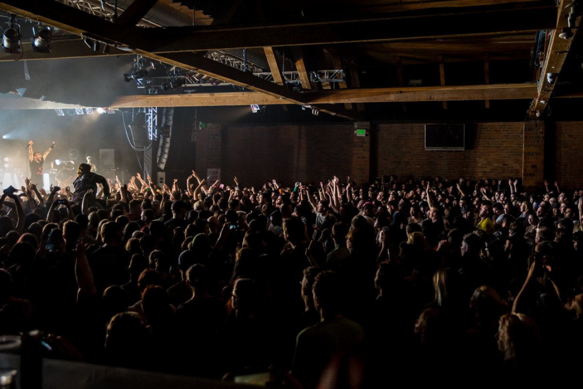 Interior image of a concert crowd at Showbox Sodo