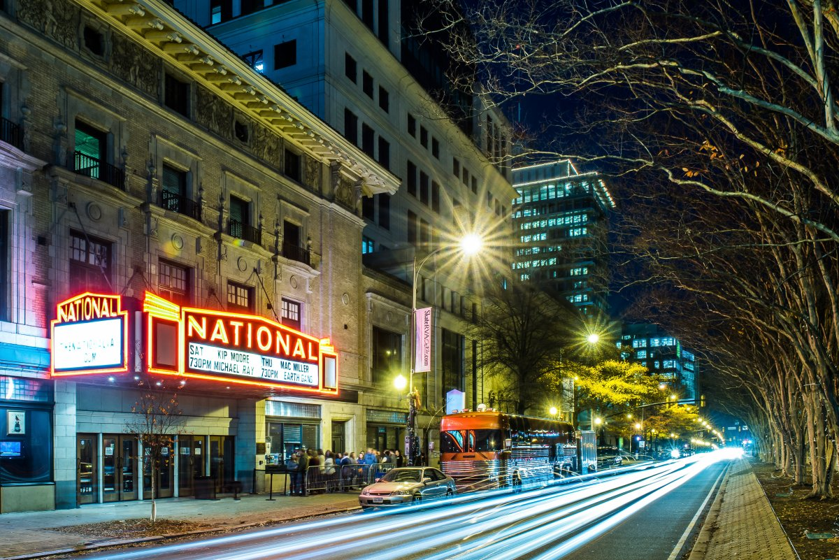 Exterior image from the street of the National and marquee