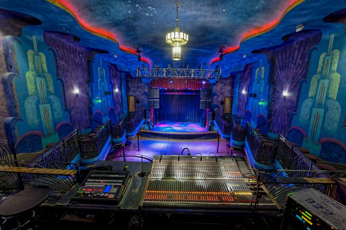 Interior shot of Gothic Theatre from the DJ booth in back with no guests