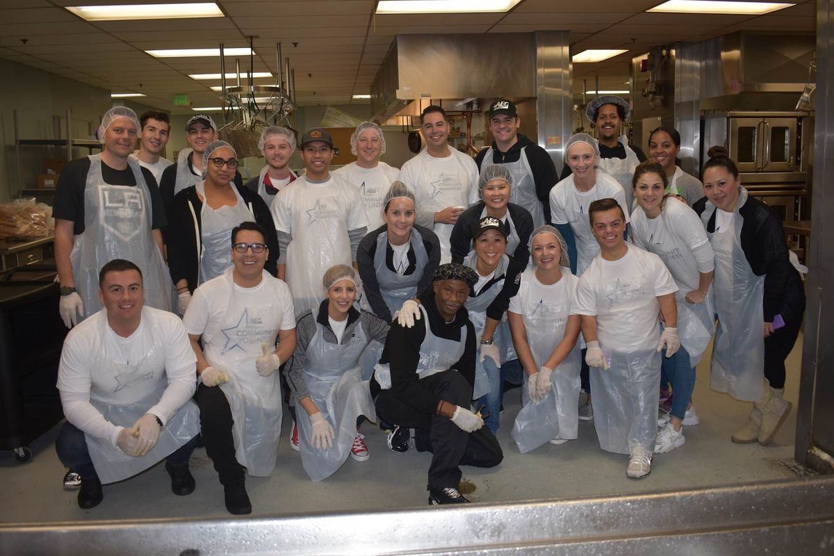 AEG kicks off its annual Season of Giving initiative that encourages its employees throughout the world to engage in charitable activities in their local communities, with 20 STAPLES Center employee volunteers serving breakfast at Union Rescue Mission in downtown Los Angeles on November 15, 2017.