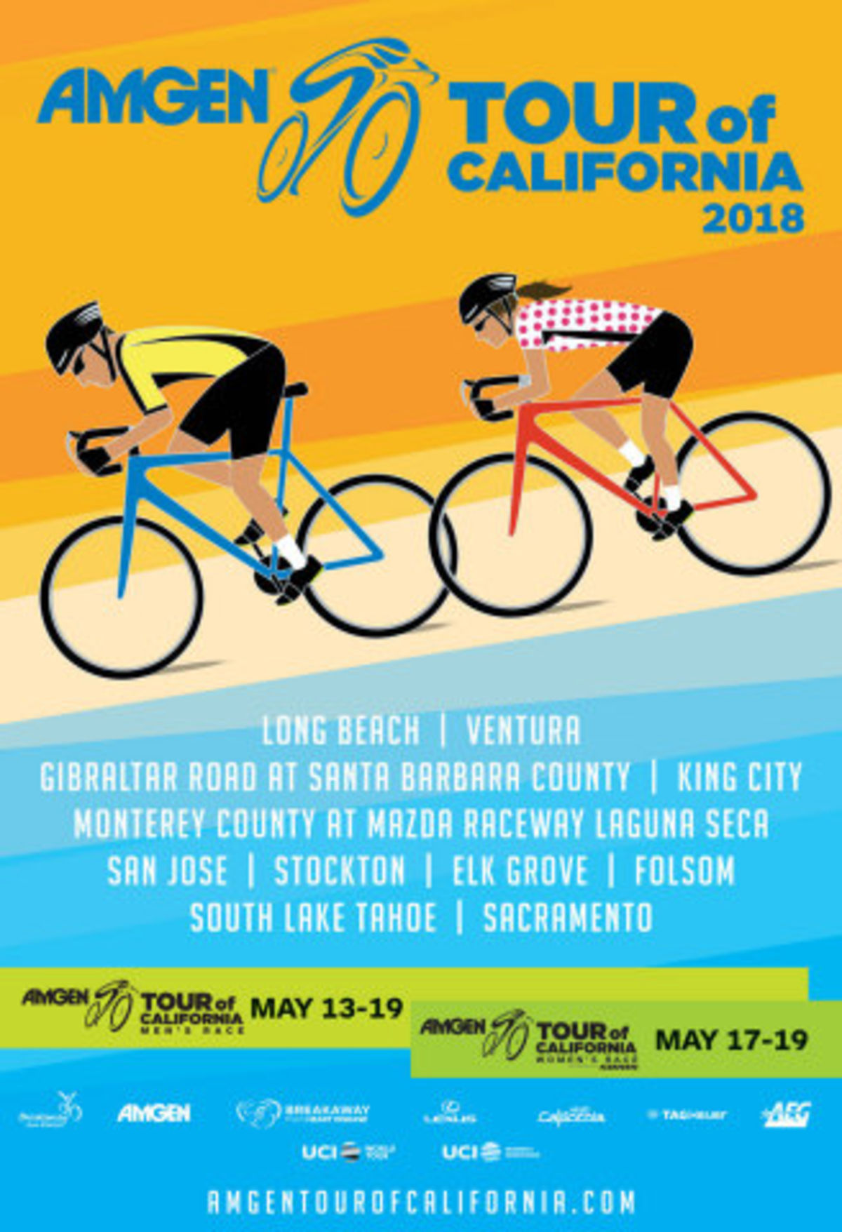Amgen Tour of California announces 2018 host cities and race schedule for men's and women's races in May.