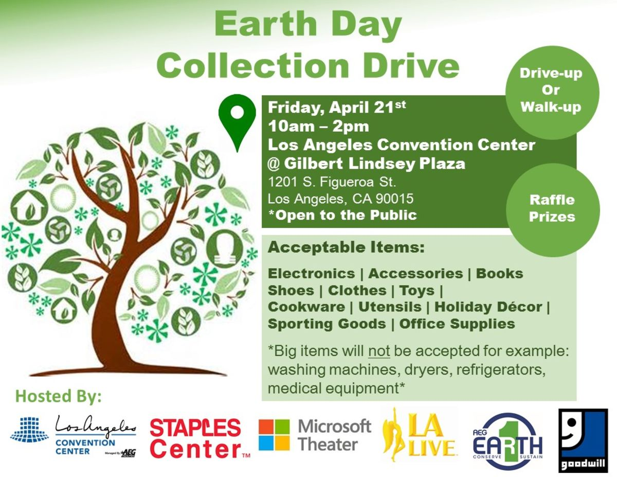 In celebration of Earth Day, AEG's STAPLES Center, Microsoft Theater, L.A. LIVE and the Los Angeles Convention Center (LACC) will host an Earth Day Collection Drive at the LACC's Gilbert Lindsey Plaza on Friday, April 21 from 10 a.m. to 2 p.m.