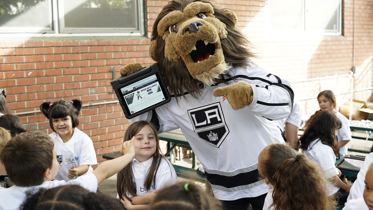 LA Kings mascot, Bailey celebrates the launch of G.O.A.L.S., a digital platform which helps equip children in Los Angeles with resources to be eco-friendly, inclusive, healthy, socially responsible and knowledgeable on November 8, 2017.