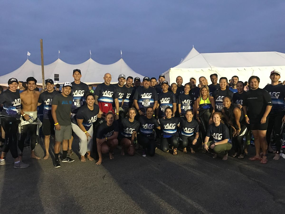 More than 50 AEG employees compete in the 31st annual Nautica Malibu Triathlon presented by Equinox at Zuma Beach in Malibu, Calif. to benefit Children's Hospital Los Angeles on Sunday, September 17, 2017.