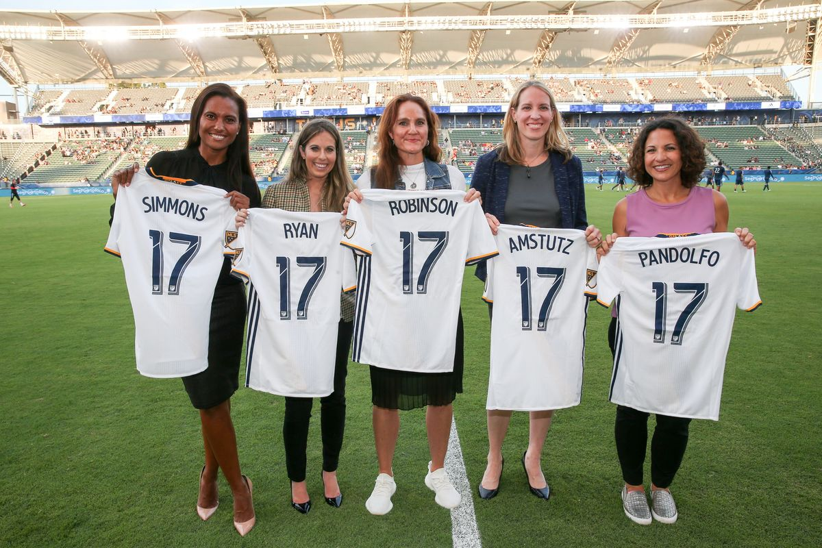 Panelists from the Women's Leadership Series presented by Herbalife Nutrition are presented with personalized LA Galaxy jerseys prior to the start of the match for the LA Galaxy's Women in Soccer Night at StubHub Center on July 19, 2017.