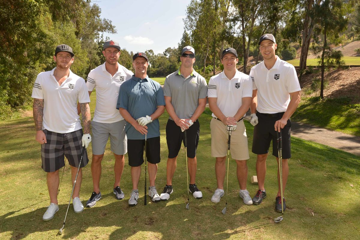 AEG's LA Kings players (from left to right) Jonathan Quick, Jeff Carter, Jonny Brodzinski and Darcy Kuemper meet with fans at the team's annual Golf Tournament benefitting Children's Hospital Los Angeles at Pacific Palms Resort on October 2, 2017.
