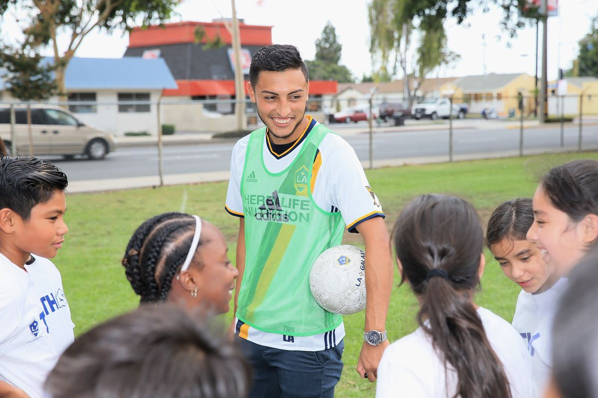 AEG's LA Galaxy host a soccer clinic with LA Galaxy Defender Hugo Arellano at Cesar Chavez Elementary School in Norwalk, Calif. for 120 students to kick off the partnership between the LA Galaxy Foundation and Playworks on September 14, 2017.