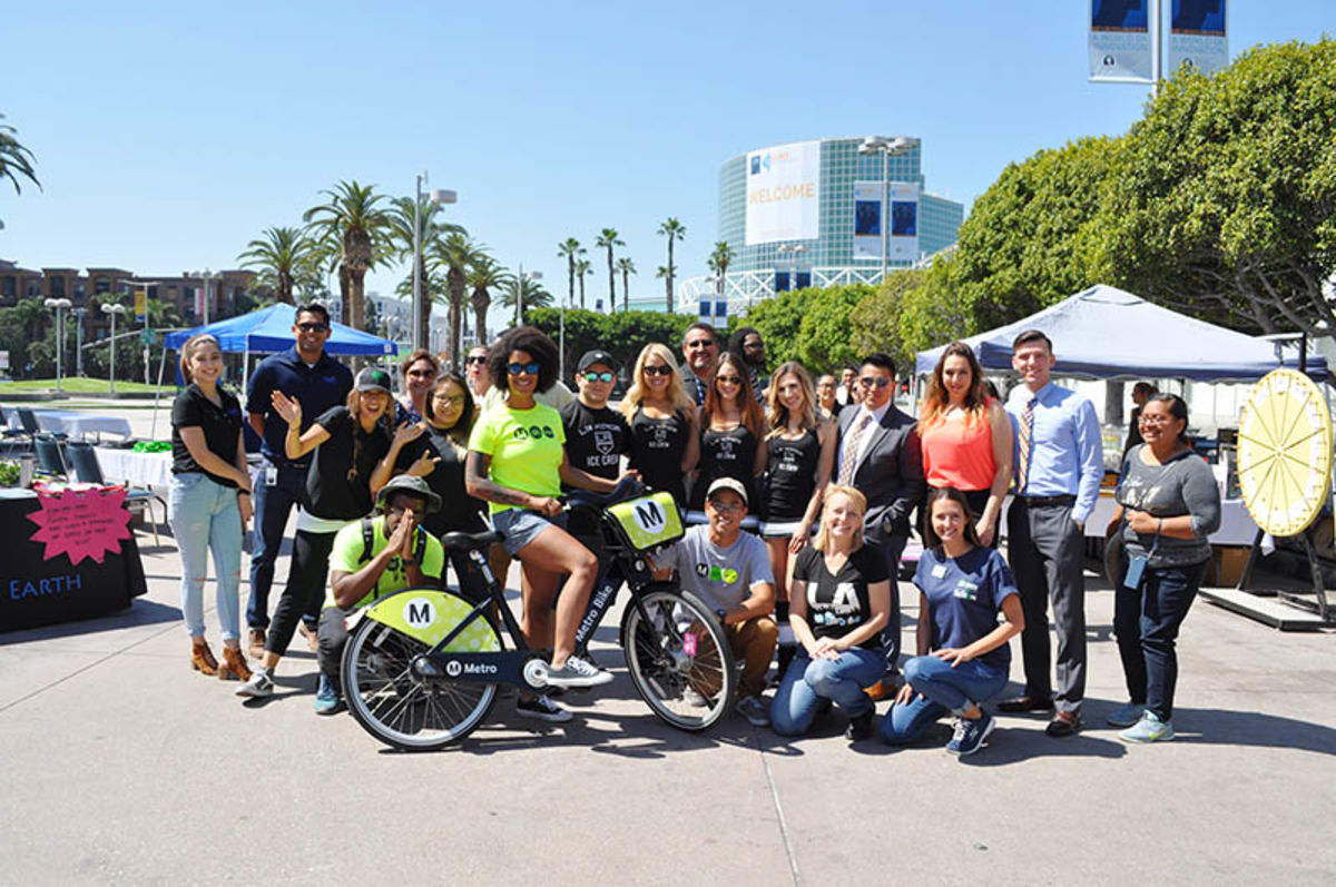 Staff from participating organizations including Metro, LA Kings and more celebrate the recycling drive at the Los Angeles Convention Center's (LACC) Gilbert Lindsey Plaza hosted by AEG's L.A. LIVE, LACC, Microsoft Theater and STAPLES Center on April 21, 2017 in celebration of Earth Month.