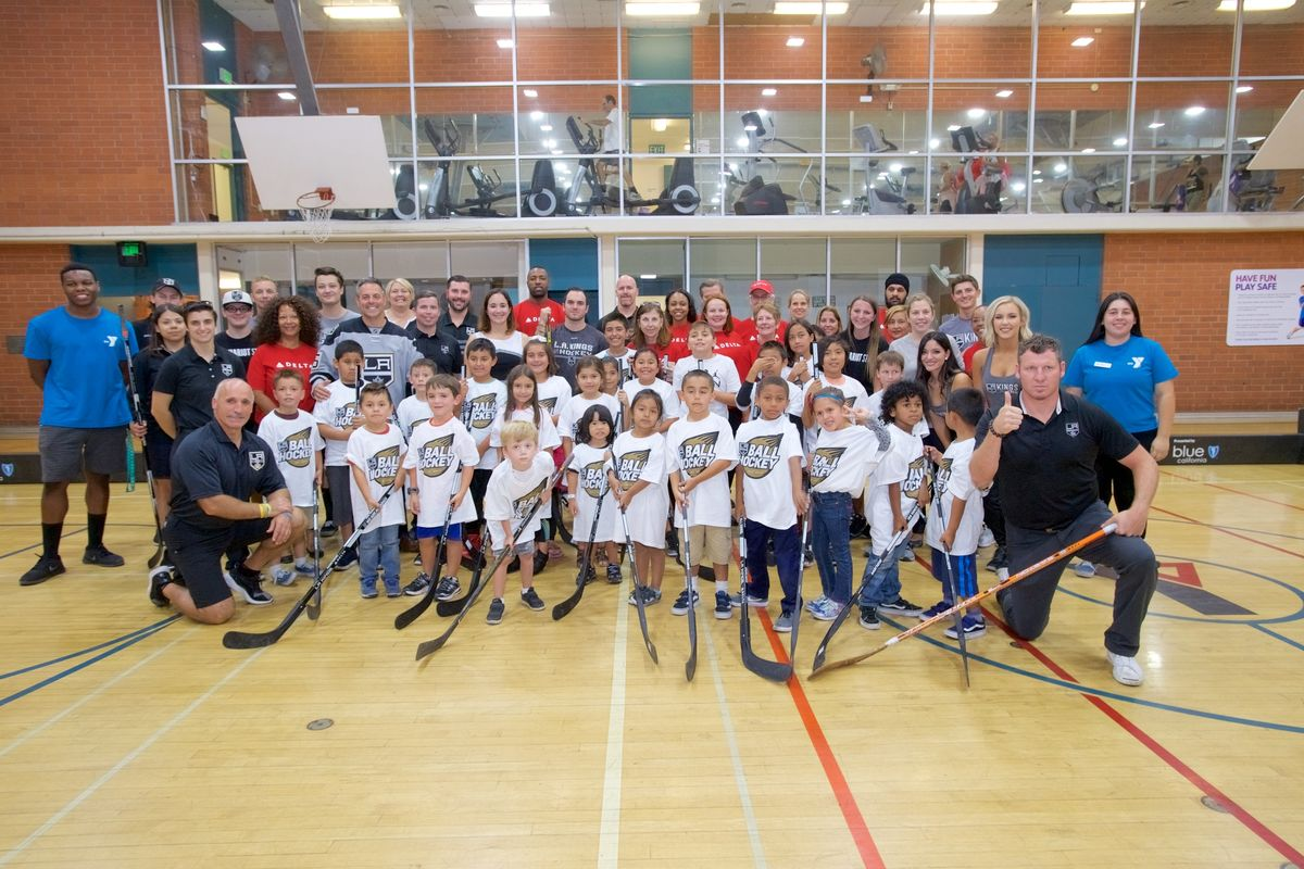 AEG's LA Kings host a kick-off event to celebrate the official launch of the LA Kings Ball Hockey Program in partnership with Delta Air Lines and Blue Shield of California at the San Pedro & Peninsula YMCA on September 25, 2017.
