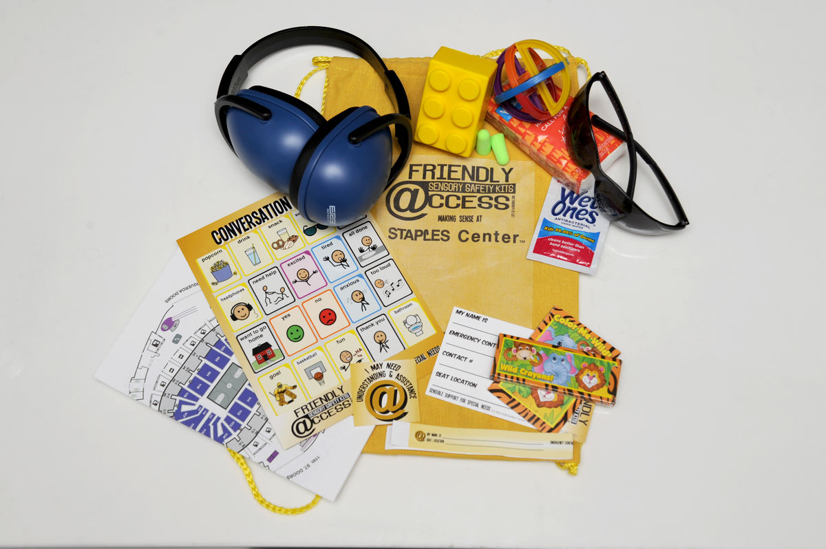 "AEG's STAPLES Center offers ""Sensory Safety Kits"" designed to support individuals of all ages and their families with a variety of sensory needs."