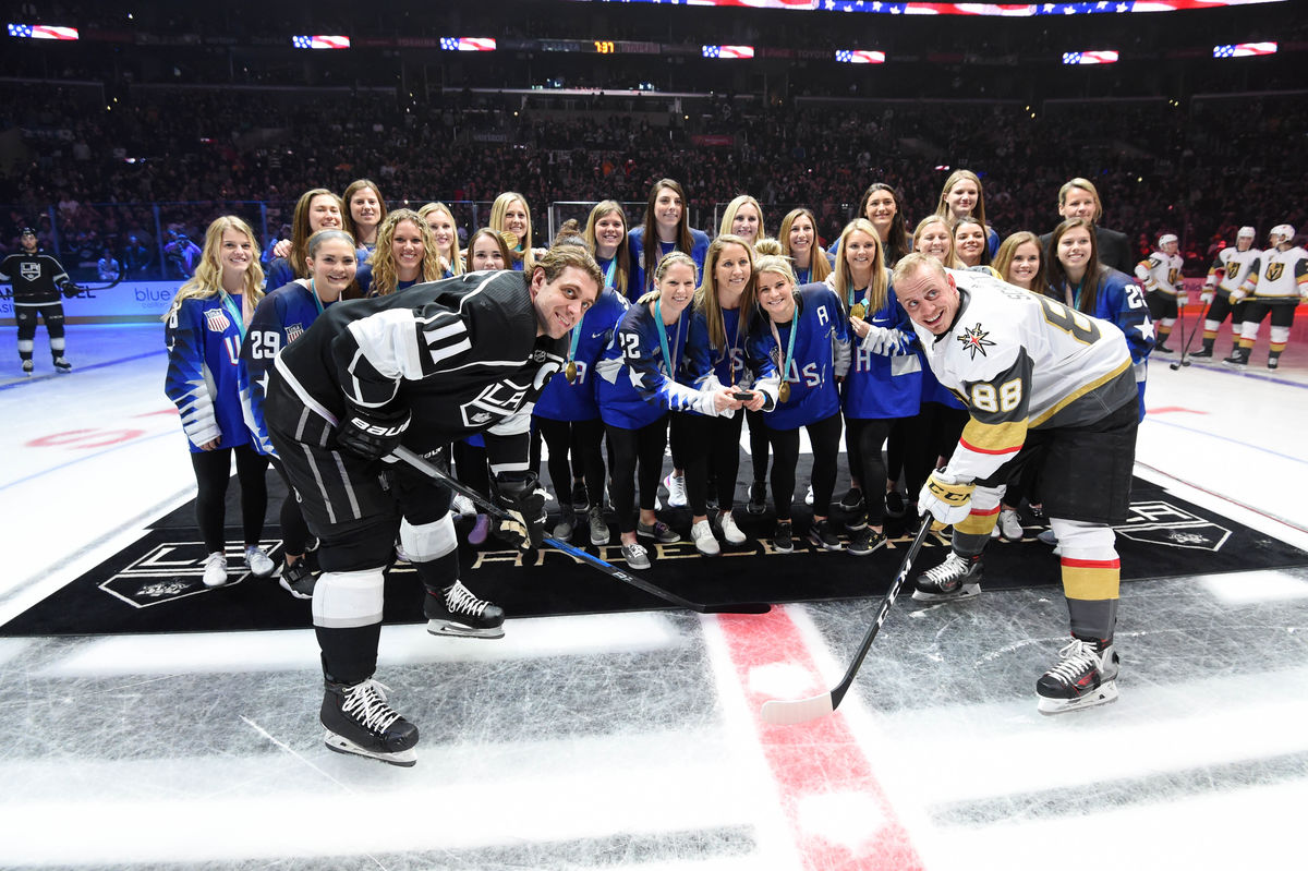 The U.S. Gold Medal-Winning Women's Olympic Hockey Team performs the ceremonial puck drop at STAPLES Center prior to the LA Kings vs. Las Vegas Knights game on February 26, 2018.