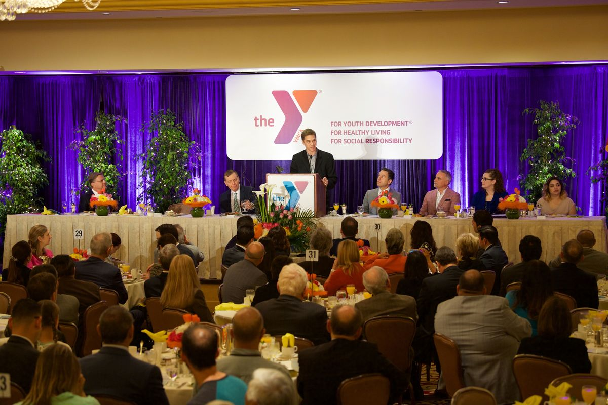 AEG's President of the LA Kings, Luc Robitaille, addresses community leaders and elected officials throughout Los Angeles as the keynote speaker of the YMCA of Metropolitan Los Angeles' 59th Annual Good Friday Breakfast on April 14, 2017. (Photo courtesy of YMCA of Metropolitan Los Angeles)