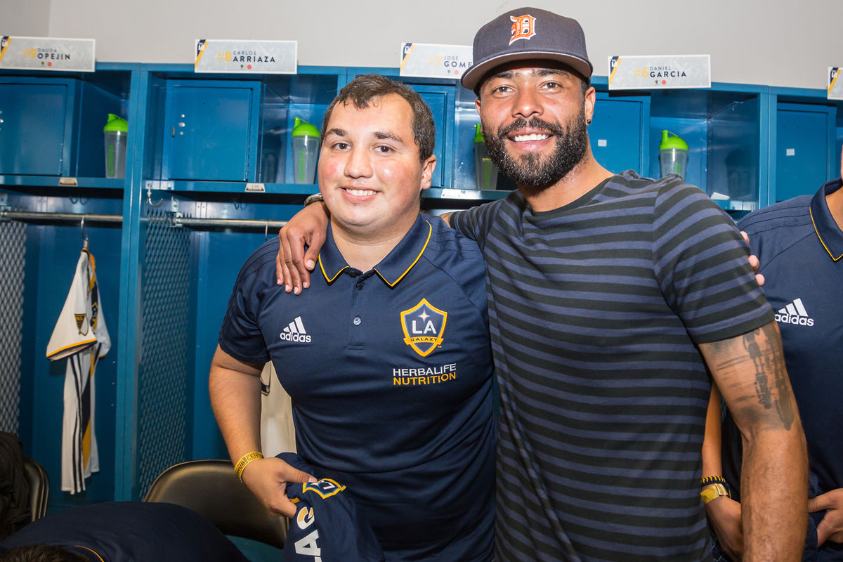LA Galaxy Captain Ashley Cole and 2017 Special Olympics Unified Athlete Jose Gomez