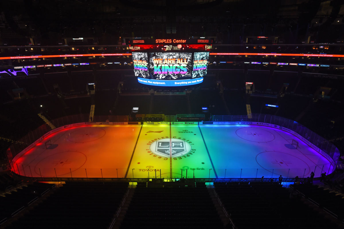 AEG's LA Kings celebrate Pride Night at STAPLES on March 1, 2018. (Photo courtesy of LA Kings/Getty)