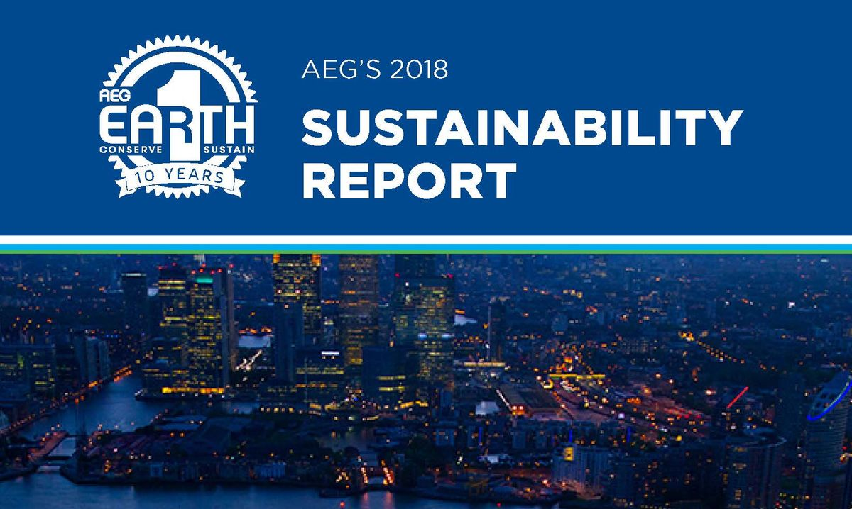 AEG's 2018 Sustainability Report Cover