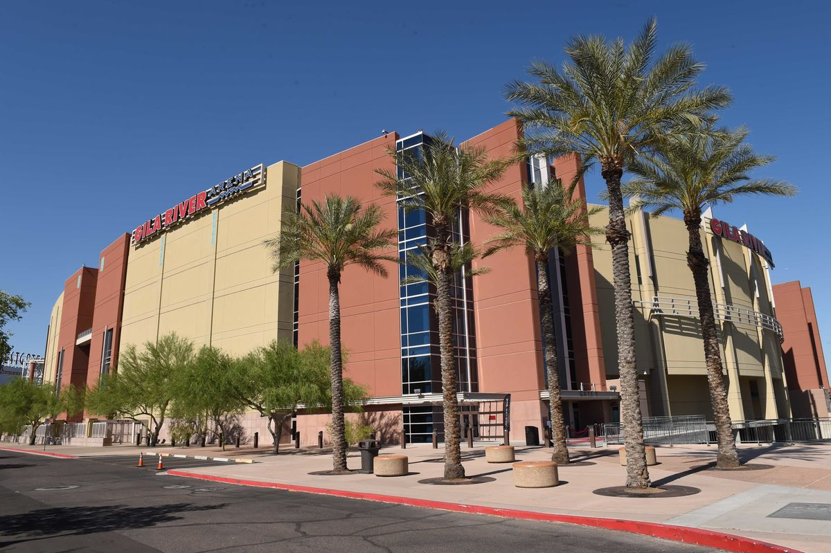 An external shot of Gila River Arena in Glendale, Arizona.