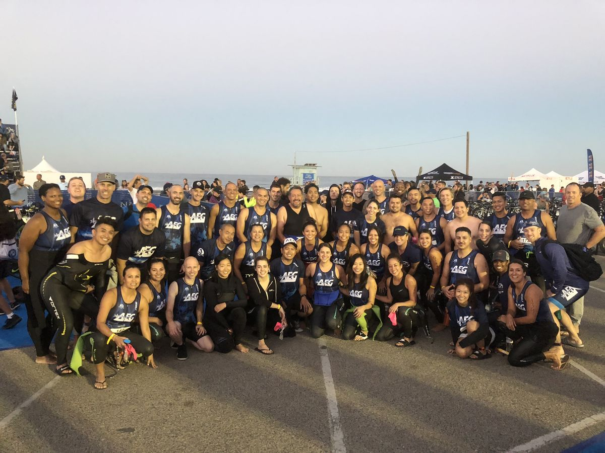 More than 70 AEG employees on the AEG Tri Team competed in a half-mile ocean swim, 17-mile bike ride and four-mile run to benefit Children's Hospital Los Angeles in conjunction with the race's Entertainment Industry Challenge at the Nautica Malibu Triathlon in Malibu, Calif. on September, 16, 2018.