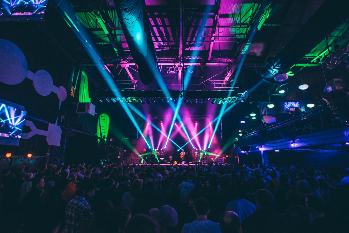 Fans gather during a concert at the Historic Electric Factory in Philadelphia.
