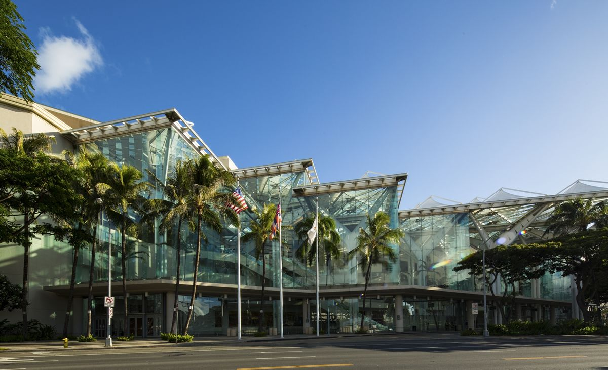 Exterior shot of the Hawaii Convention Center in Honolulu.