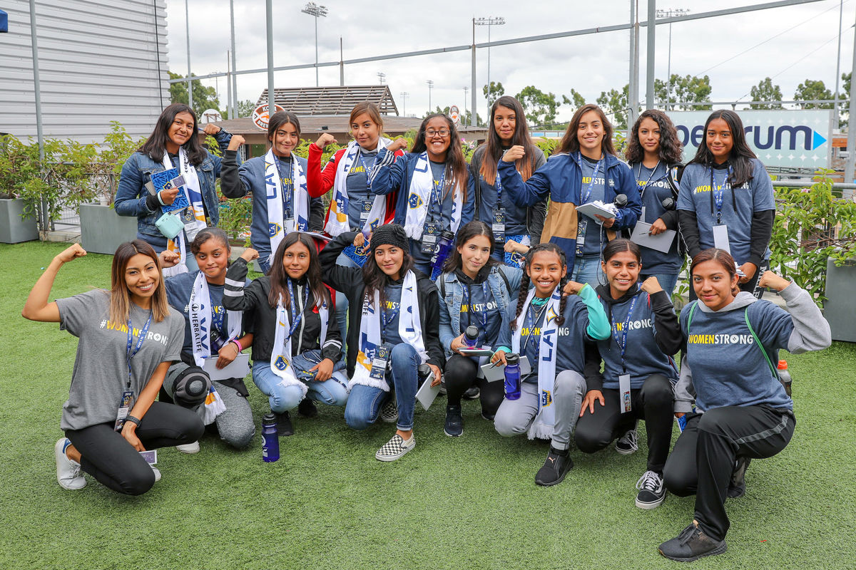 More than 100 students from the Los Angeles area participate in the LA Galaxy's inaugural LA Galaxy High School Girls Summit, which focuses on mentorship and college readiness, at StubHub Center on October 13, 2018.