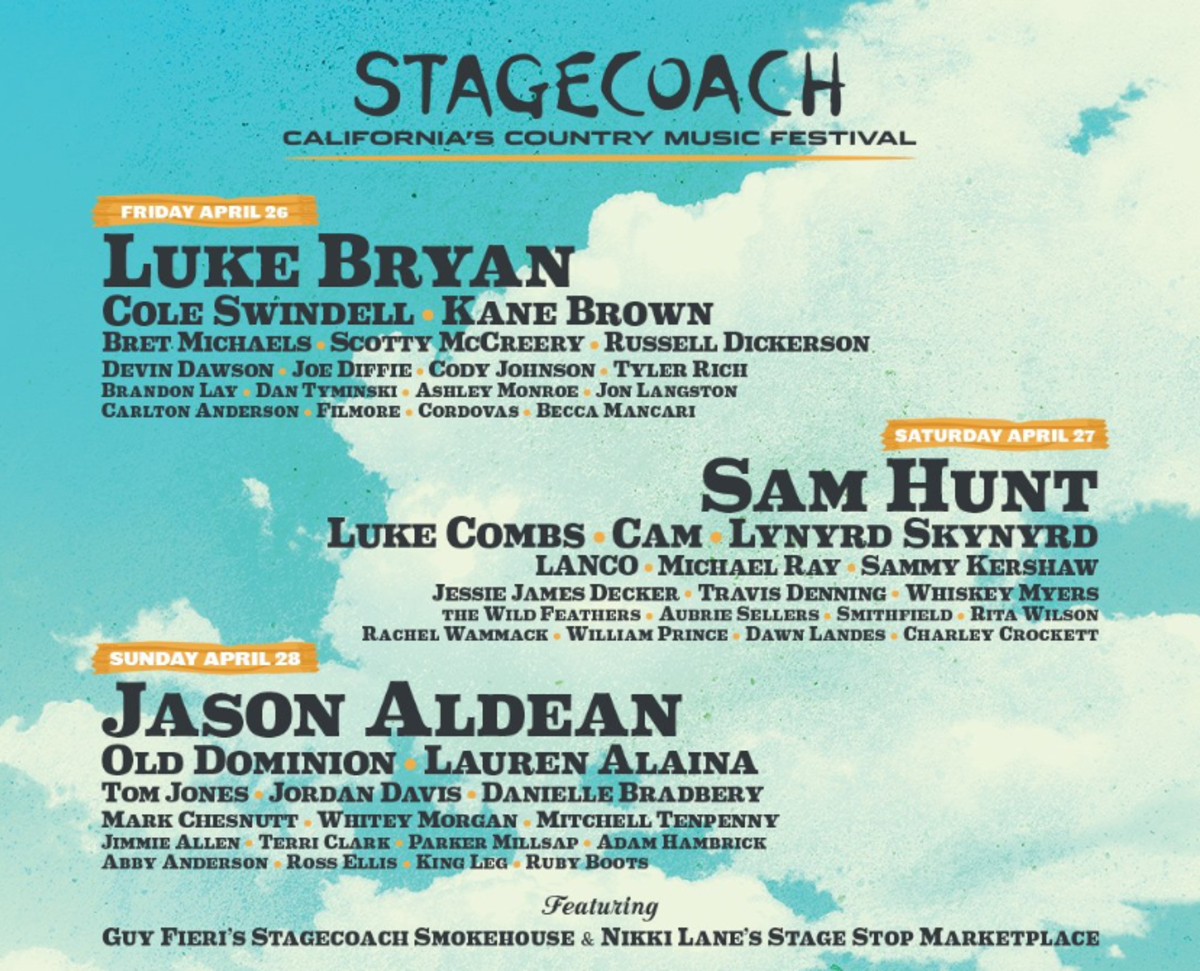 Stagecoach poster featuring the names of the three headliners: Luke Bryan, Sam Hunt and Jason Aldean.