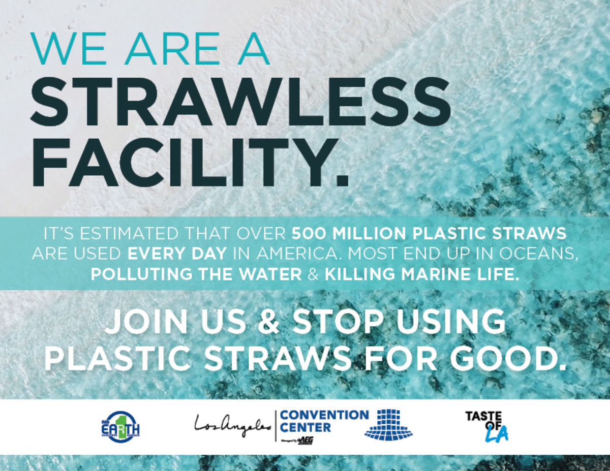 Graphic depicting the ocean with the message of the Los Angeles Convention Center being a strawless facility.