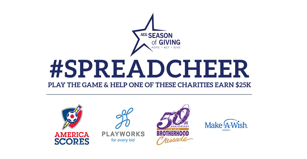 A graphic features #SpreadCheer Challenge with the logos of each participating non-profit organizations below.