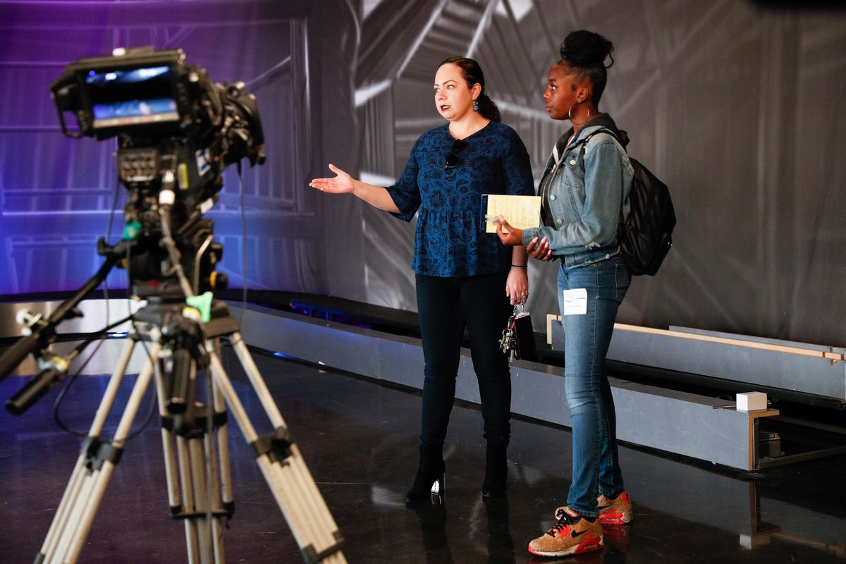 A John Muir High School student receive behind-the-scenes tour of AXS TV studios during a Job Shadow hosted by AEG at L.A. LIVE on Friday, March 29, 2019.