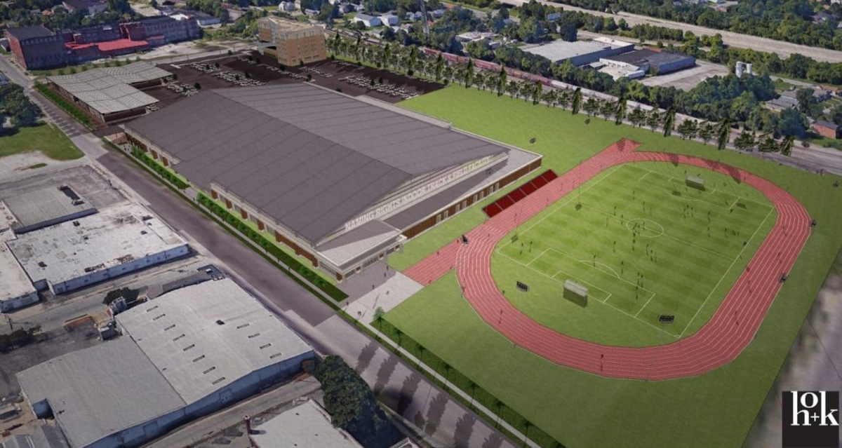 A rendering of the Louisville Urban League Sports and Learning Complex features an outdoor track and field.