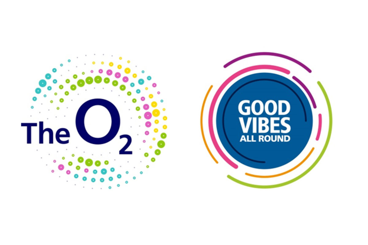 The O2 logo which depicts colorful dots around the words The O2 is next to the Good Vibes All Around logo which is a blue sphere with colorful curved lines bordering it.