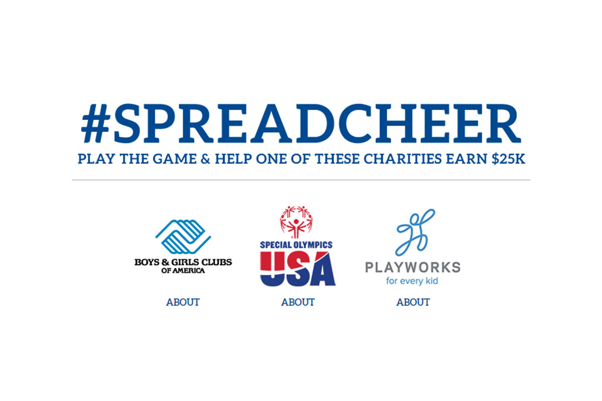 The hashtag #SpreadCheer is positioned above the three logos of Boys & Girls Clubs of America, Special Olympics USA and Playworks.