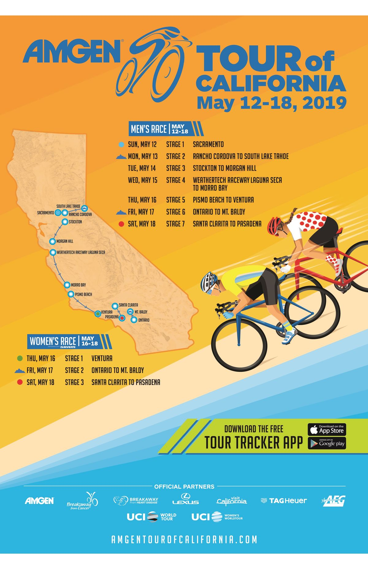 Amgen Tour of California, California's largest sporting event, will travel from Sacramento to Pasadena in May 2019. (Graphic: Bu