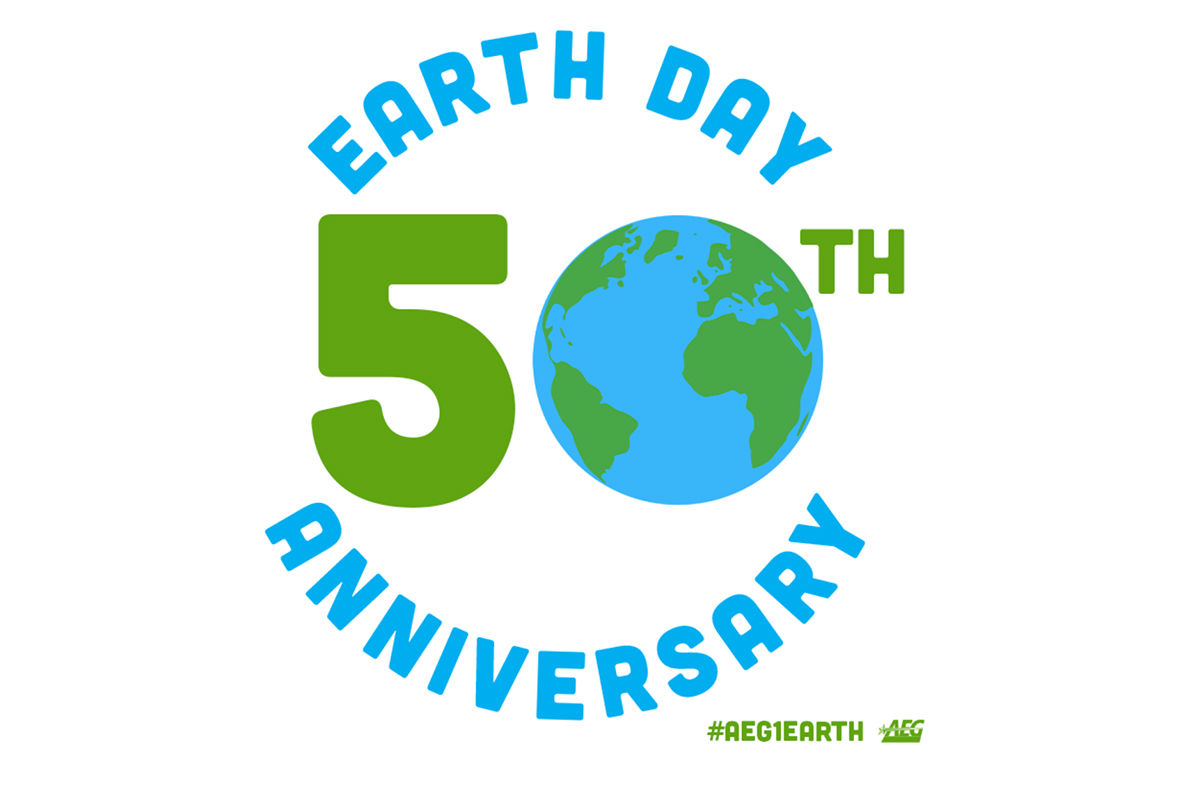 Earth Day graphic with the glob depicted in blue.