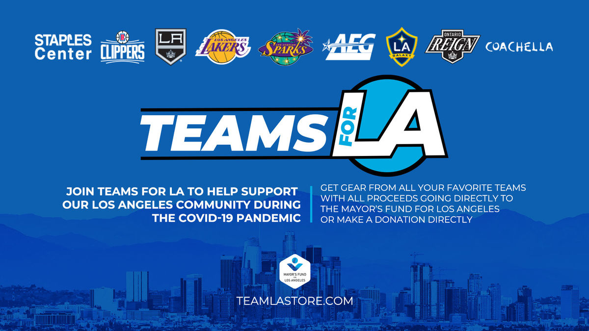 Blue graphic showing logos above Teams for LA including STAPLES Center, Clippers, LA Kings, LA Lakers, LA Sparks, AEG, LA Galaxy, Ontario Reign and Coachella.