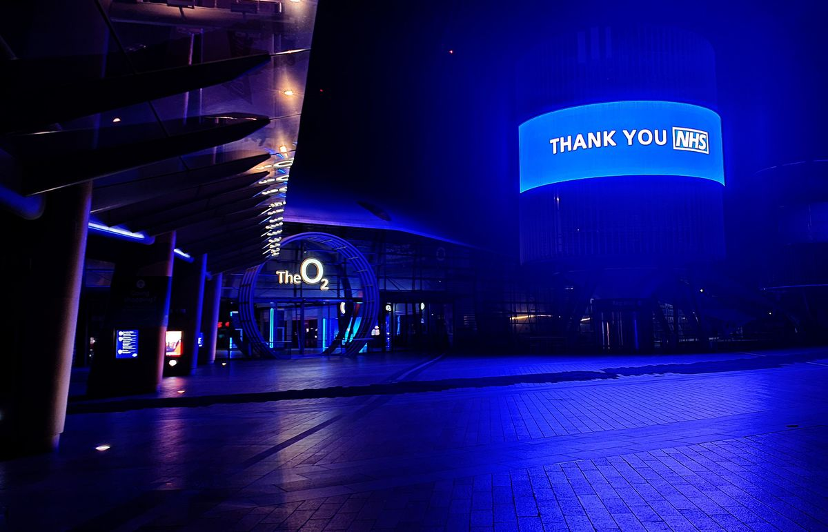 The O2 turns its lights blue in support of NHS works combating COVID-19.