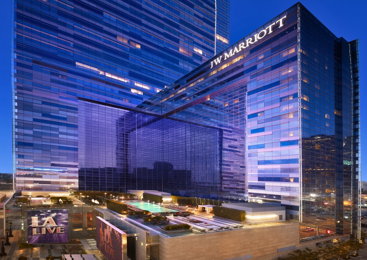 Exterior image of JW Marriott at night