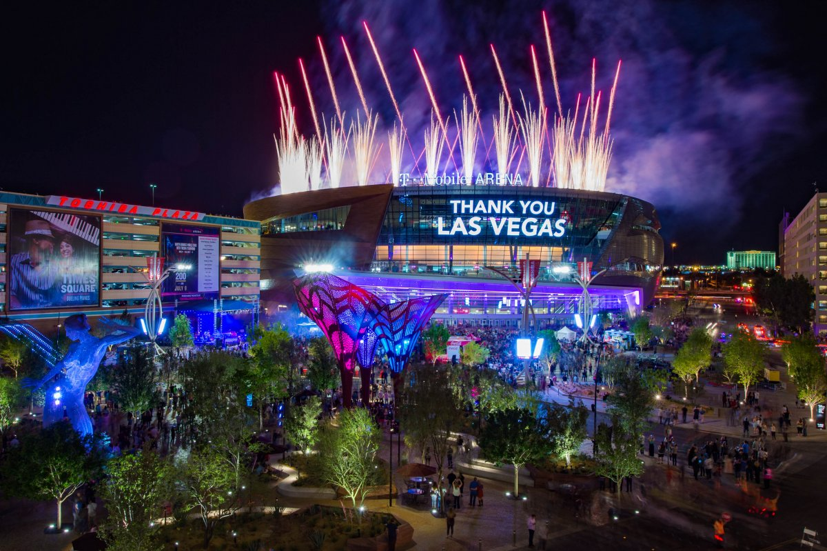 Exterior image of T Mobile Arena with fireworks