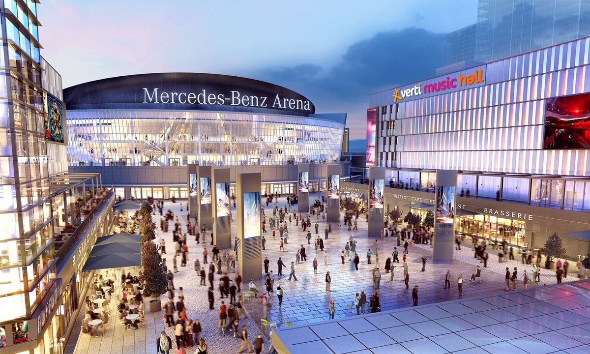 Image of Mercedes Platz district outside the arena in Germany