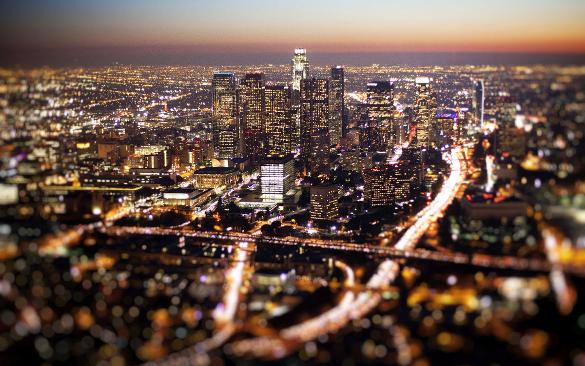 Aerial of downtown LA at dusk