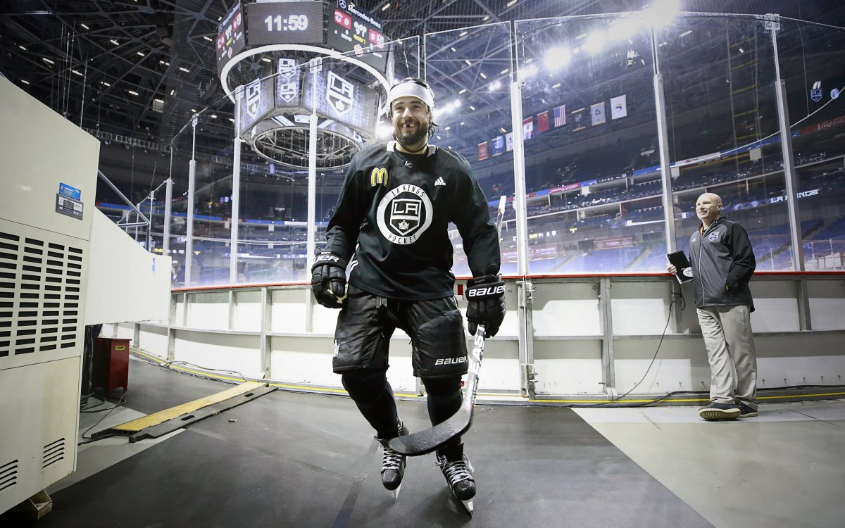 Image of Drew Doughty coming off the ice with a McDonalds logo on his jersey